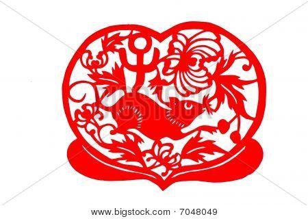 Chinese folk paper-cut - Zodiac mice