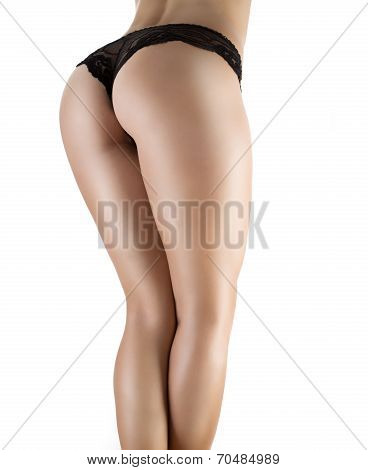Sexy ass in black panties isolated on white poster