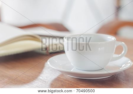 White Coffee Cup With Notebook