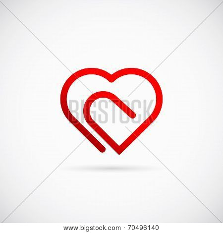Paperclip Heart Concept Vector Symbol Icon or Logo Template