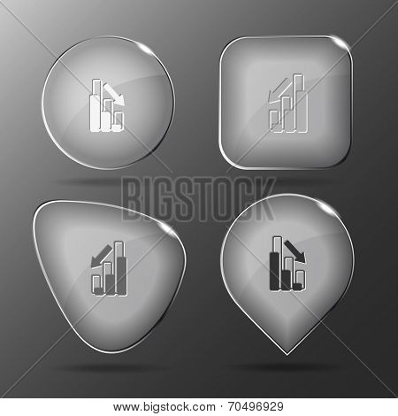 Graph degress. Glass buttons. Vector illustration.