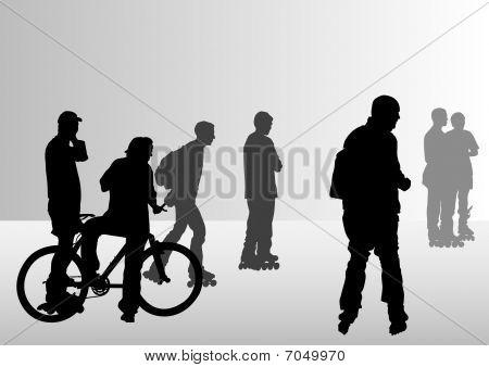 Bike and skates people