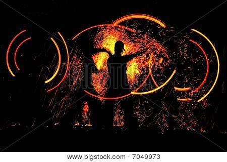 night dance with fire