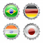 Illustration of round bottle caps set decorated with the flags of the world (G4). poster