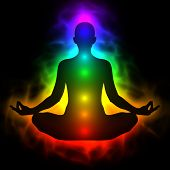 Illustration of human energy body aura chakra in meditation poster