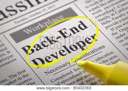 Back-End Developer Vacancy in Newspaper.