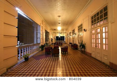 Corridor Of Old Colonial Style Building