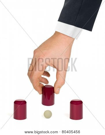 Shell game isolated on white background