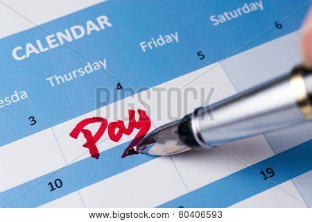Pay Word On Calendar