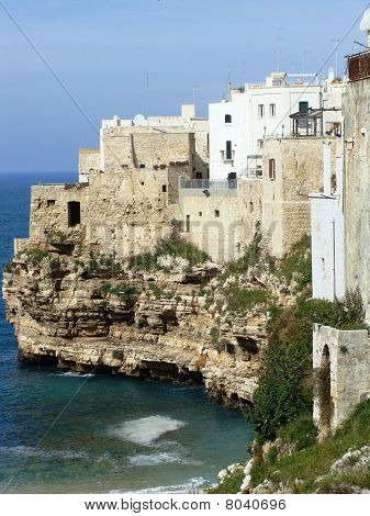 The town of Polignano A Mare in the Puglia region of southern Italy poster