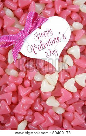 Valentines Day Pink And White Heart Shape Jelly Candy Confectionary On Pink Wood Background With Hea