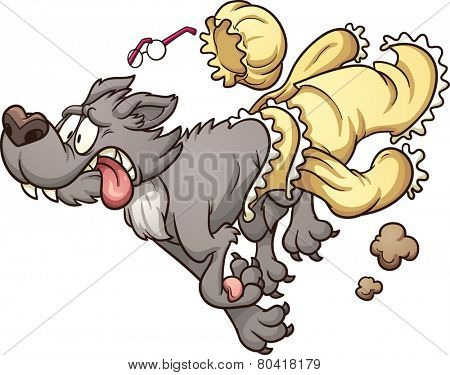 Scared wolf running and slipping off grandma's clothes. Vector clip art illustration with simple gradients. Wolf and clothes on separate layers for easy editing.