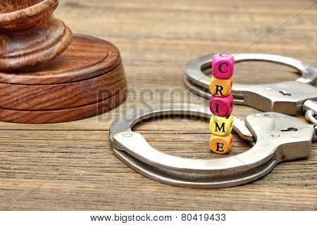 Judges Gavel, Soundboard,  Handcuffs And Sign Crime
