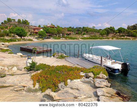 Boat at the bay, Diaporos island, Sithonia, Greece
