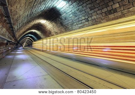 Underground Railroad With  Moving Train, Transporation.
