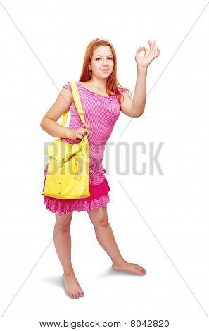 Girl In Pink Dress With Ok