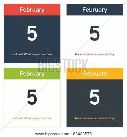 4 Calendar Sheets With National Weatherperson's Day