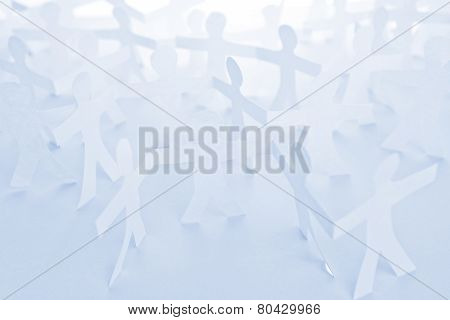 People Paper Cut Chain As Crowd Or Teamwork Concept