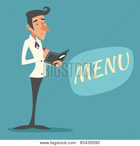 Vintage Waiter Garcon Accepts Order Restaurant Menu Icon on Stylish Background Retro Cartoon Design Vector Illustration poster