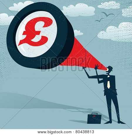 Abstract Businessman Looks Through His Telescope To Find The Pound.
