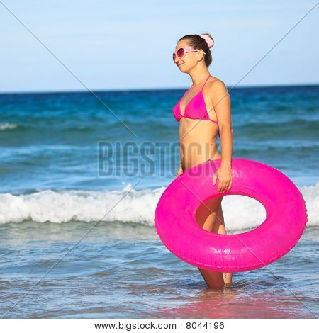 Woman With Inner Tube