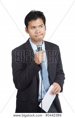Asian Businessman Hesitate To Speak With Paper