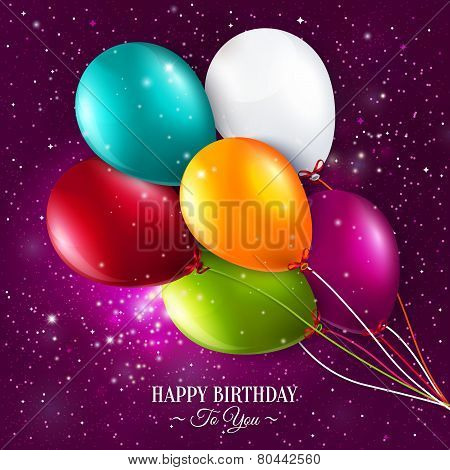 Vector birthday card with balloons and stars on galaxy background.