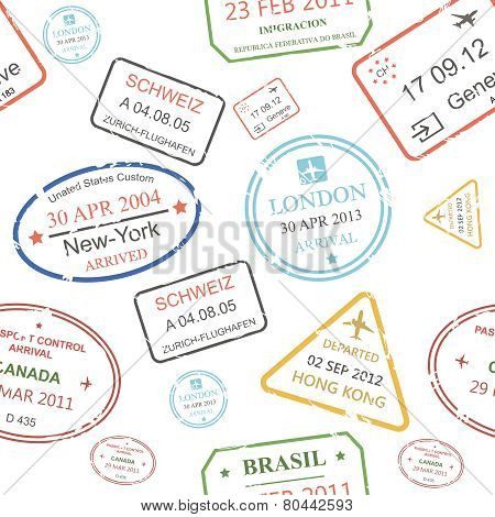 Seamless background pattern of a close packed assortment  cachets and hand stamps  passport control