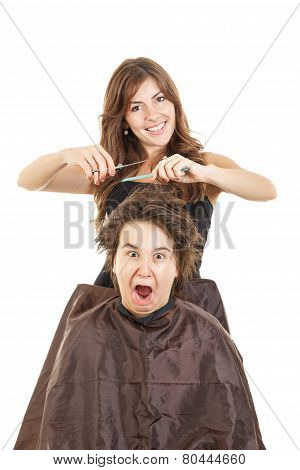 cute young male chubby child kid or boy shocked and surprised with face expression with long hair at smiling female hairdresser cutting his hair while he sitting in chair with bosco fanny photo poster