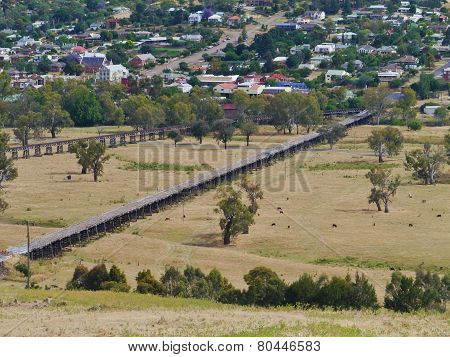 Rail bridge at Gundagai in Australia