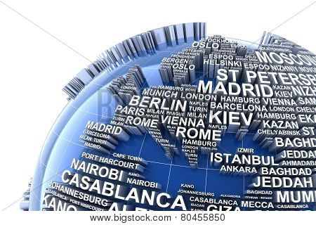 Earth with names of major cities in the world