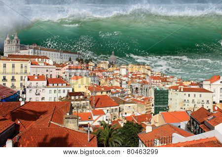 Giant tidal wave or tsunami about to crash on the houses of Lisbon poster