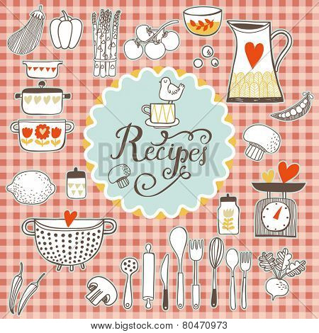 Recipes concept card. Vintage kitchen set in vector. Stylish design elements: pepper-box, fork, spoon, bowl, pan, scales, colander, knife and others