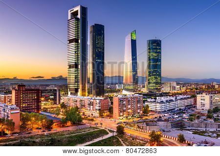 Madrid, Spain financial district skyline at twilight. poster