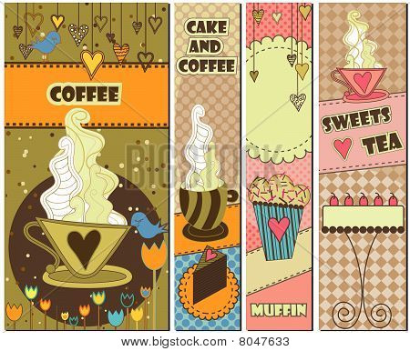 Four Sweet Coffee and Dessert Banners