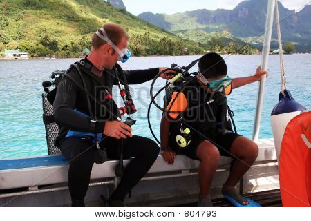 scuba instructor and kid