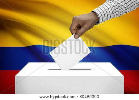Ballot Box With National Flag On Background - Colombia