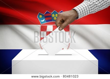 Ballot Box With National Flag On Background - Croatia