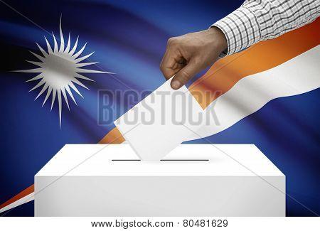 Ballot Box With National Flag On Background - Marshall Islands