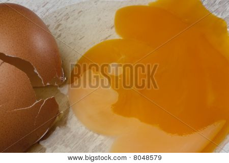 A brown egg cracked on the kitchen floor poster