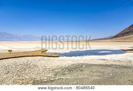 Badwater, Deepest Point In The Usa, Saltsee Mixed With Minerals In The Desert Valley