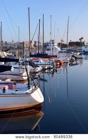 Marina Del Rey Harbour And Yachts At Dawn.