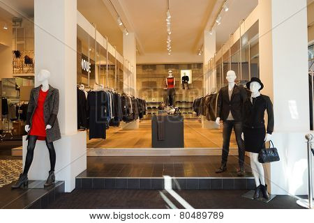 DUSSELDORF - SEP 16: Dusseldorf shop interior on September 16, 2014 in Dusseldorf, Germany. Dusseldorf is an international business and financial centre and renowned for its fashion and trade fairs