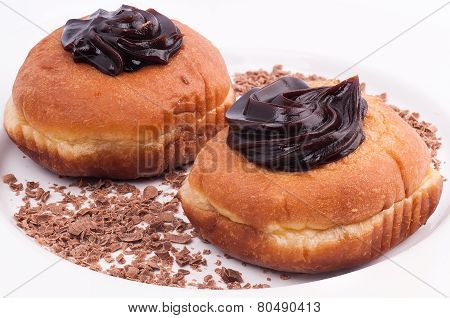 Chocolate Donuts  Isolated On A White Plate