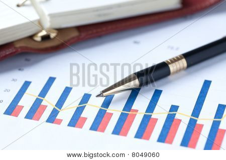 financial Graph und Stift