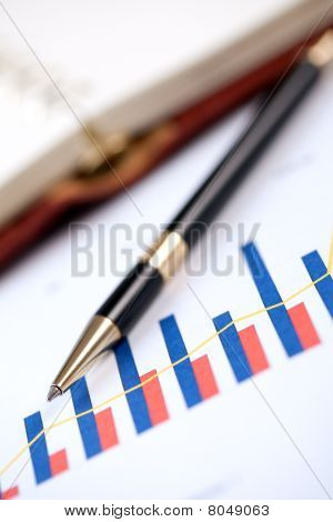 Financial Graph And Pen