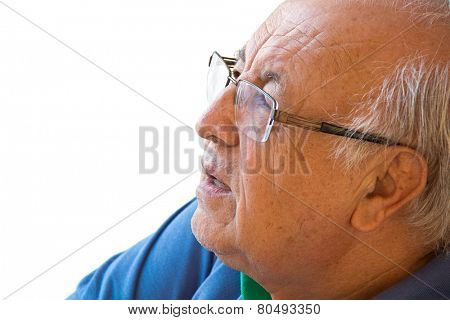 Brazilian senior man on white background