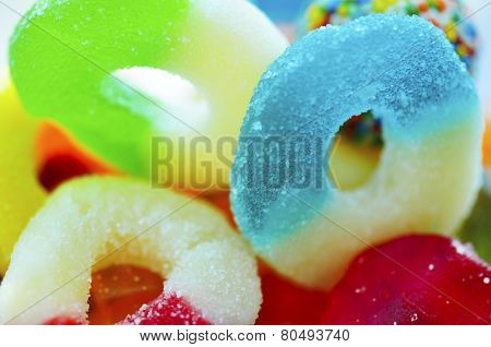 Plenty of colorful jelly ring candies.