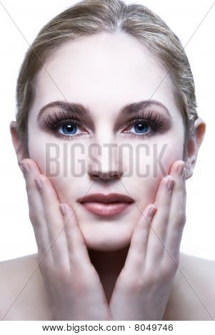 Beautiful female model head shot with hands