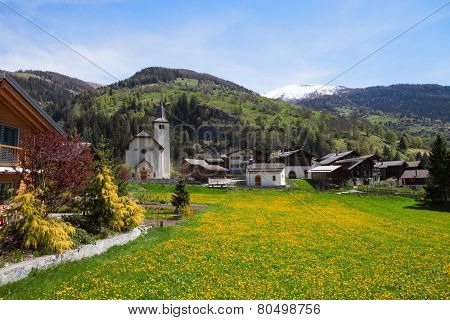 Inden village in sunny  day,   canton of Valais, Switzerland.